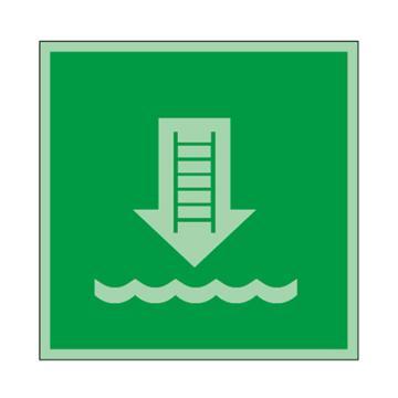 安賽瑞 船用IMO安全標識-登乘梯,自發光不干膠,150×150mm,21009