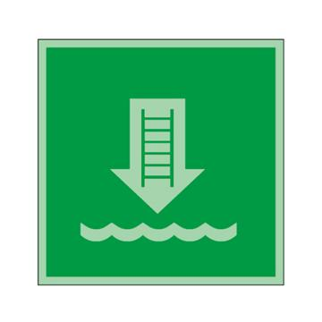 安赛瑞 船用IMO安全标识-登乘梯,自发光板,150×150mm,21010