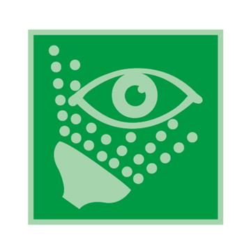 安赛瑞 船用IMO安全标识-冲淋洗眼器,自发光不干胶,150×150mm,20464