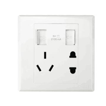 正泰CHINT NEW7S系列一位USB插座,一位两、三极插座10A,NEW7-S13230 白色