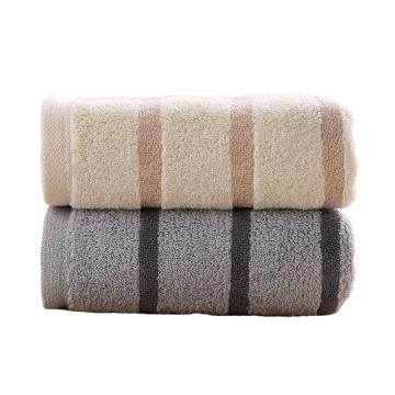 金號純棉毛巾,提緞加厚洗臉巾70*34cm 108g/條 兩條裝(灰棕各一條)