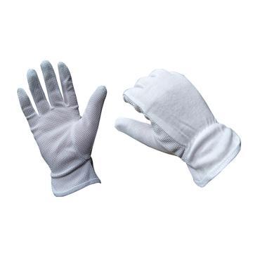 五指福 棉毛點塑手套,白色,1副