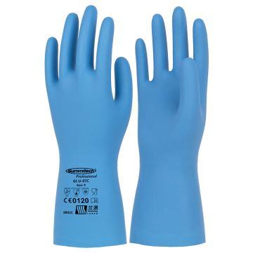 兰浪 丁腈橡胶手套,鹅软石纹,食品级,雾蓝,SR021-8