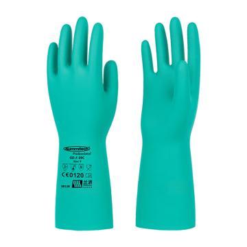 兰浪 丁腈橡胶手套,掌部厚度0.46mm,绿色,SR110-9