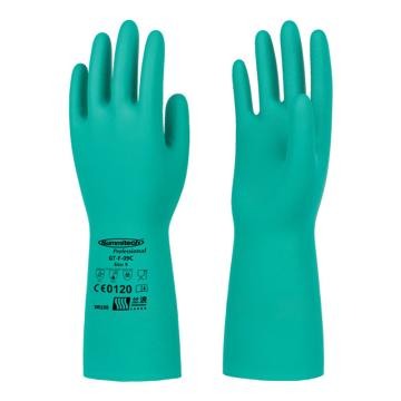 兰浪 丁腈橡胶手套,掌部厚度0.38mm,绿色,SR100-8