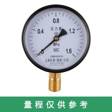 上仪 压力表Y-100,碳钢+铜,径向不带边,Φ100,0~1.6MPa,M20*1.5