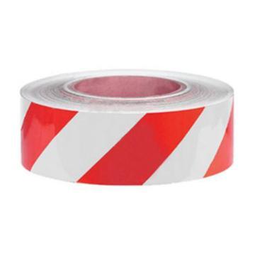 安赛瑞 耐磨型划线胶带,高性能自粘性PP表面覆超强保护膜,50mm×22m,红/白,15624
