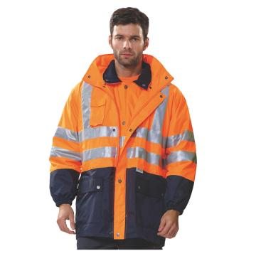 安大叔 防寒服,B008-橙拼藍-XXXL,高密度防水涂層牛津布