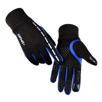 户外抓绒可触屏手套,蓝色,M