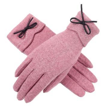 羊毛手套,01款,皮红色,单层