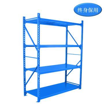 Raxwell 4層中型貨架主架(2板3加強筋),200kg,尺寸(長*寬*高mm):1500*600*2000,藍色,安裝費另詢