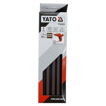 易尔拓YATO 褐色热熔胶棒,5件套 11.2x200mm,YT-82439