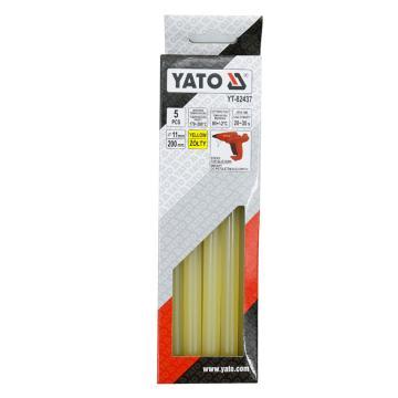 易爾拓YATO 黃色熱熔膠棒,5件套 11.2x200mm,YT-82437