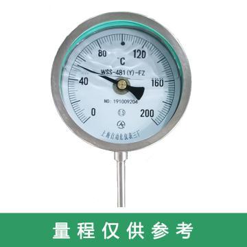 上仪 不锈钢耐震温度计,WSS-411N 0-600度 L=200MM G1/2