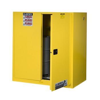 杰斯瑞特JUSTRITE 黄色立式圆桶存储柜,60加仑/227升,双门/自动,带滚柱,8990701