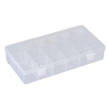 西域推荐 零件盒收纳盒,18格可拆分,外形尺寸:230*110*42mm,内格尺寸:37*36mm