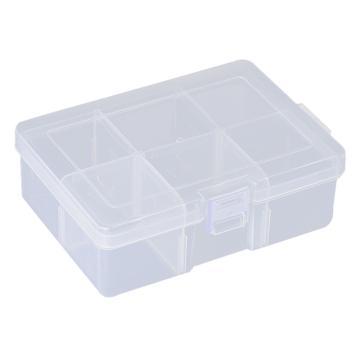 西域推荐 零件盒收纳盒,大号6格可拆分,外形尺寸:165*118*58mm,内格尺寸:55*55mm