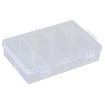 西域推荐 零件盒收纳盒,大号8格可拆分,外形尺寸:195*128*46mm,内格尺寸:63*50mm