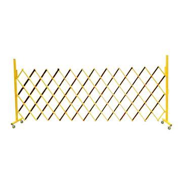 迈邦 伸缩隔离栏,全铁材质,高1.5m(拉到最长),长400-4000mm,自带滚轮,F5T黄黑色