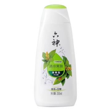 六神(LIUSHENG) 綠茶清涼爽膚沐浴露,200ml 男女士清新花香綠茶+甘草清爽型 單位:瓶
