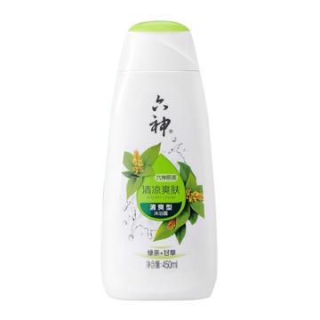六神(LIUSHENG) 綠茶清涼爽膚沐浴露,450ml 男女士清新花香綠茶+甘草清爽型 單位:瓶