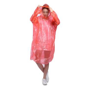 一次性雨衣,套头加厚有帽绳加大款,红色