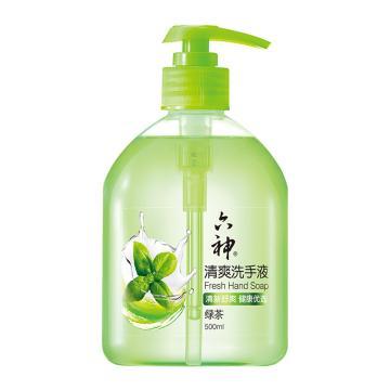 六神(LIUSHENG) 清爽洗手液(綠茶),清新舒爽 500ml 單位:瓶
