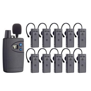 話中游無線雙講器,講解員解說器設備導游耳麥系統 一對多 灰色 (發射器 主+副,200個接收器)套裝