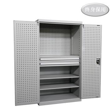 Raxwell 灰色雙開門帶掛板置物柜(三層板雙抽),尺寸(長*寬*高mm):1000*600*1800,RHST0002