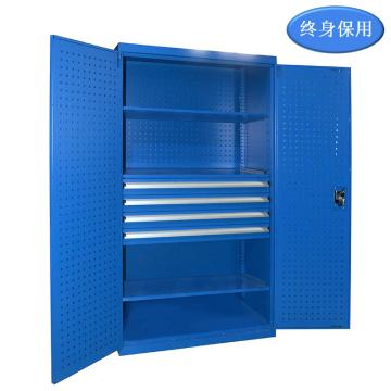 Raxwell 藍色雙開門帶掛板置物柜(三層板四抽),尺寸(長*寬*高mm):1000*600*1800,RHST0005