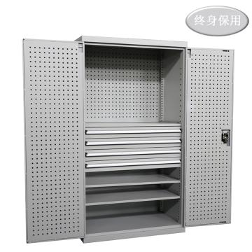 Raxwell 灰色雙開門帶掛板置物柜(三層板四抽),尺寸(長*寬*高mm):1000*600*1800,RHST0006