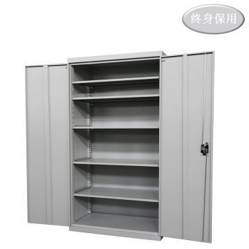 Raxwell 灰色雙開門置物柜(五層板),尺寸(長*寬*高mm):1000*500*1800,RHST0024