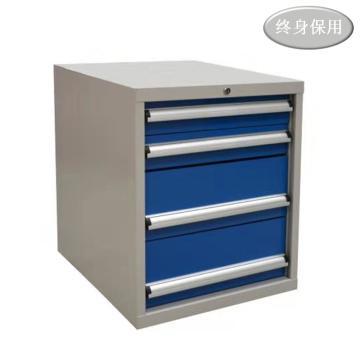 Raxwell 四抽標準工具柜,抽屜帶物料盒分隔板,尺寸(長*寬*高mm): 566*600*700,RHTS0002