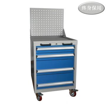 Raxwell 四抽标准可移动工具车(带挂板),尺寸(mm): 566*600*1315 抽屉带物料盒分隔板,RHTC0006