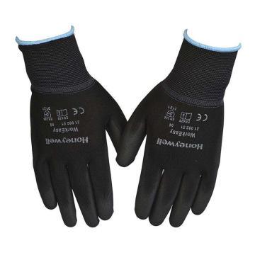 霍尼韦尔Honeywell PU涂层手套,2100251CN-07,涤纶耐磨黑色PU涂层手套,10副/包