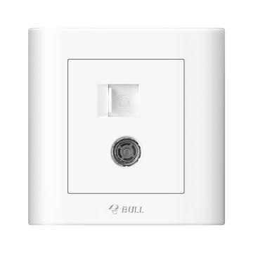 公牛/BULL 开关面板一位电话+电视插座86型白色暗装,GN-G32T213