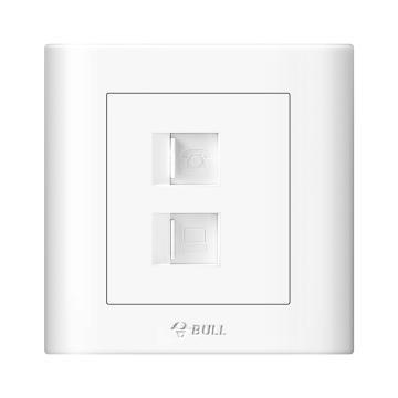 公牛/BULL 开关面板一位电话+电脑插座86型白色暗装,GN-G32T212