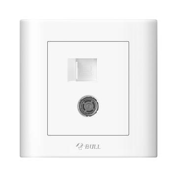 公牛/BULL 开关面板一位电视+电脑插座(打线型/六类)86型白色暗装,GN-G32T223B