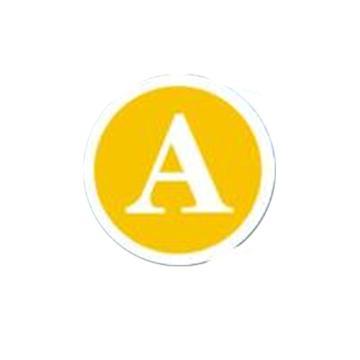 反光字母牌(相位牌),留M16螺栓, 直径20CM,铝牌,反光,黄色,字母A,1.0mm厚