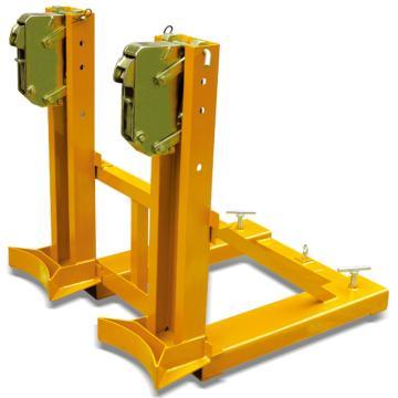 Raxwell 720Kg油桶搬運夾(夾扣式),雙桶(叉車專用) 高度可調,RMCM0005