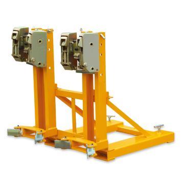 Raxwell 720Kg油桶搬运夹(夹扣式),双桶(叉车专用) 高度可调 双鹰嘴型,RMCM0006