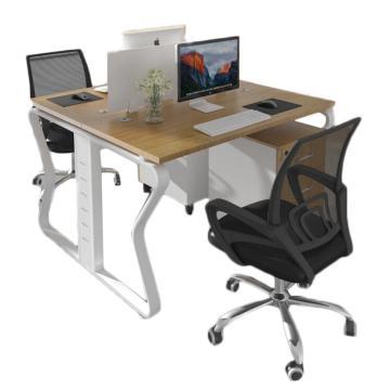 臻遠 辦公桌屏風桌員工蝴蝶腿辦公雙人位(含柜椅),1200*1200*750