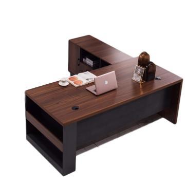 臻遠 大班桌經理主管桌單人辦公桌 1.8米加厚老板桌(含側柜),1800*80*750,不含椅子