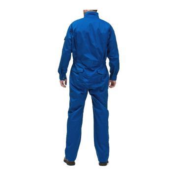 8113820 阻燃工作服帆布三紧上下身,99%棉+1%防静电丝,蓝色,均码
