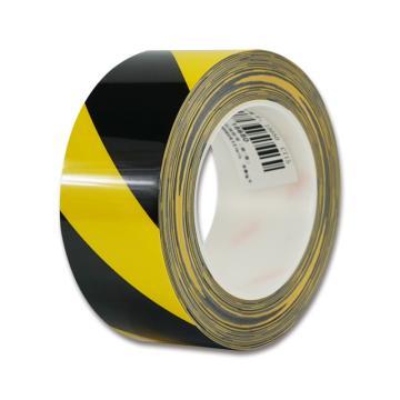 安赛瑞 耐磨型划线胶带,高性能自粘性PP表面覆超强保护膜,50mm×22m,黄/黑,15650