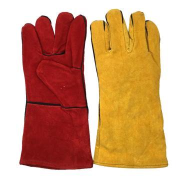 8113820 防寒手套,羊皮面,绒里,五指,黄色,红色,均码