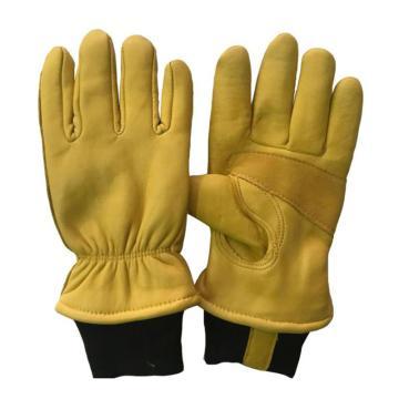 8113820 防寒手套,牛皮面,绒里,五指,均码