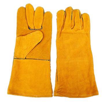 8113820 防寒手套,羊皮面,绒里,五指,黄色,均码