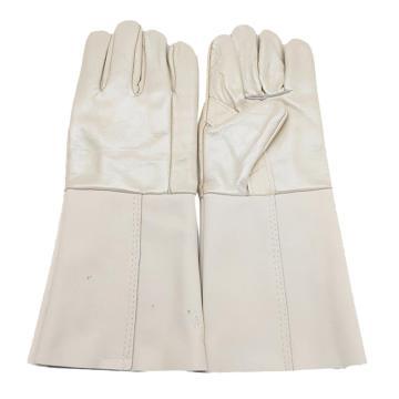 8113820 防寒手套,牛皮面,绒里,五指,乳白色,均码