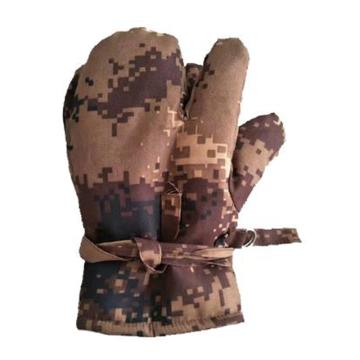 8113820 防寒手套,布面毛里,三指,迷彩,均码